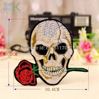 Patches Wholesale ! On sale! 5pc Rose Skull Embroidered Iron On Patches For Jacket Cross Bones Pirate Flag Applique DIY Accessor