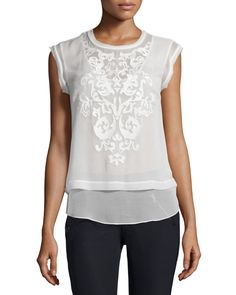 Pop Paisley Embroidered Top, Snow - Rebecca Taylor