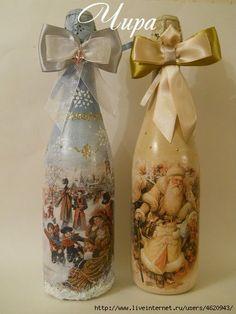 DSCN3951 (420x560, 102Kb) Wine Bottle Art, Wine Bottle Crafts, Wine Bottles, Christmas Decoupage, Christmas Crafts, Cork Crafts, Diy And Crafts, Christmas Gift You Can Make, Decoupage Glass
