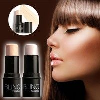 Wish | Highlighter Stick Shimmer Powder Cream Shadow Highlighting Waterproof Face Eyes Makeup Cosmetics (4 Colors: Silver Gold Coffee Brown)