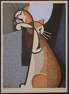 Cat Making-up | woodcat print | Tomoo Inagaki