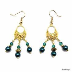Handmade Green Pearl Gold Plated Filigree Chandelier Earrings #Handmade #Chandelier