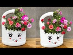 Art Plastic, Small Plastic Bottles, Plastic Bottle Flowers, Plastic Bottle Crafts, Bottle Painting, Bottle Art, Pet Bottle, Flower Pot People, Hanging Flower Pots