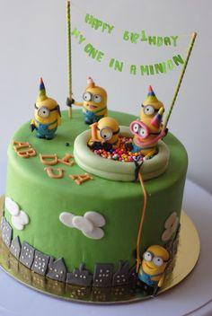 Birthday minion cake - by Rabarbar_cakery @ Pretty Cakes, Cute Cakes, Beautiful Cakes, Amazing Cakes, Torta Minion, Bolo Minion, Minion Cakes, Fondant Cakes, Cupcake Cakes