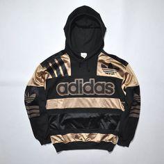 Rare Vintage ADIDAS Hoodie Sweatshirt Sweater / ADIDAS Pullover Jumper / ADIDAS Decente / Color Block / Black Gold / Adidas Trefoil Big logo