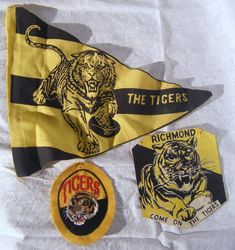 Three vintage Richmond Football… - Weekly Sale - The Collector - Antiques Reporter Richmond Afl, Richmond Football Club, Yellow Black, Tigers, Melbourne, Blankets, Museum, Memories, Animal