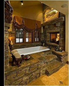 WHAT!? It's almost depressing knowing I'll never actually get one like this, the stone + fireplace <3 <3 <3