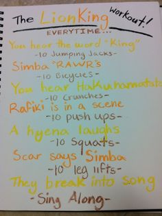 I love these! The Lion King workout! - i would have been skin and bones at the rate i watched this movie as a child...