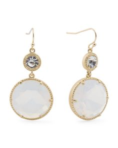 Double Crystal Drop Earrings On Textured Setting