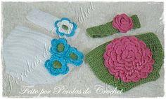 * Pérolas do Crochet: Conjuntinho: Tapa fraldas e tiara em croche.
