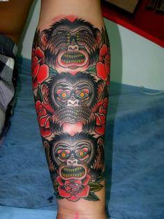 ... see speak hear no evil monkeys arm tattoo with roses - Tattoos photos