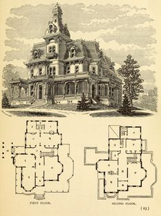 Second Empire House Plans Historic Colonial House Plans Style from Addams Family Mansion Floor Plan Victorian House Plans, Vintage House Plans, Victorian Homes, Victorian Era, Victorian Decor, Victorian Fashion, Residence Architecture, Architecture Drawings, Architecture Design