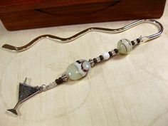 Chocolate Brown and Cream Beaded Bookmark with Cocktail Glass Charm | TheTwistedRedhead - Paper/Books on ArtFire