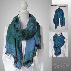 Schal / Plaid dick & warm Winterschal Tweed Plaid - Leopard Prind - grün blau