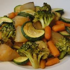 Baked Vegetables I - Olive oil, garlic & onion soup mix