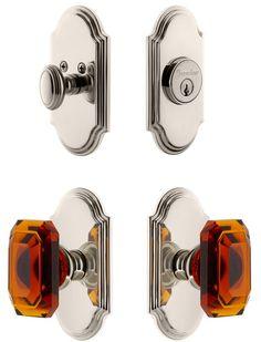 Arc Single Cylinder Handleset with Amber Baguette Crystal Knob