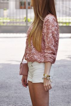 LOVE this pink rosette top. White booty shorts... not so much.