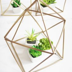 These geometric planters are made from supplies found at the dollar store and look perfect sitting on a mantle or table!