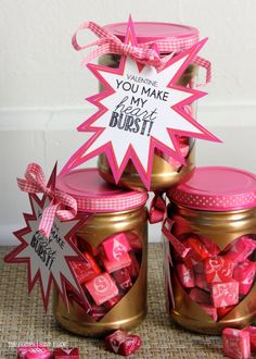 """""""You Make My Heart Burst!"""" Valentine Treat Jars Valentines gifts made from jars! Kinder Valentines, Valentine Gifts For Kids, Valentine Treats, Valentine Day Crafts, Holiday Crafts, Holiday Fun, Valentines Sweets, Candy Gifts, Jar Gifts"""