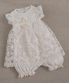 Look at this #zulilyfind! Truffles Ruffles Ivory Embroidered Lace Skirted Bodysuit - Infant by Truffles Ruffles #zulilyfinds