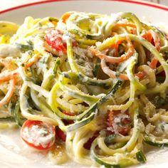 Carrot and Zucchini Noodles with Creamy Arugula-Basil Pesto