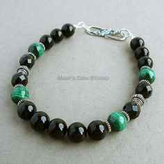 Pulsera para hombre malaquita verde negro Onyx Bali plata | Etsy
