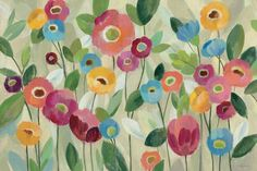 Fairy Tale Flowers V Painting Print Wrapped on Canvas