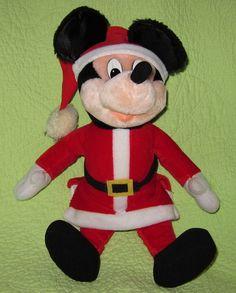 "Big 16"" SANTA CLAUS Mickey Mouse Christmas Plush Stuffed TOY Soft Decor Holiday #Applause"
