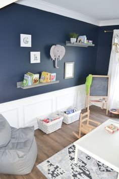The perfect shade of navy paint! - CLARE - The perfect shade of navy paint! A renovated playroom featuring Goodnight Moon - a strong midnight blue paint color that's dark and alluring, like an infinite, moonlit sky. Blue Bedroom Paint, Boys Bedroom Colors, Boy Room Paint, Boys Bedroom Decor, Boys Room Paint Ideas, Bedroom Ideas, Childs Bedroom, Kid Bedrooms, Boy Decor
