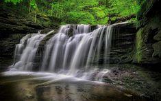 Download wallpapers waterfalls, forest, river, lake, beautiful waterfalls