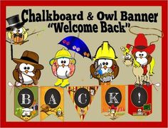 "Chalkboard & Owl Banner: ""Welcome Back"" from Suziesangle on TeachersNotebook.com (10 pages)"