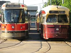 New and old Toronto Streetcars.