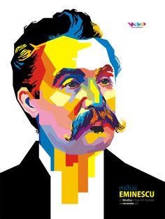 Mihai Eminescu Pop Art Portraits, Gandhi, Low Poly, Caricatures, Colored Glass, Famous People, Digital Art, Paintings, Female