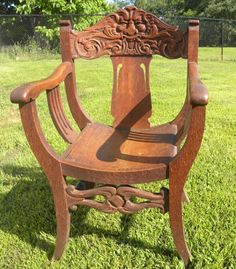 Antique Northwind Large Oak Rocking Chair With Carved Face