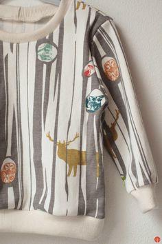 Dětské tričko z biobavlny / Kids t-shirt from organic cotton Birch fabrics Cotton Jumper, Birch, Diaper Bag, Organic Cotton, Deer, Kids Fashion, Fabrics, Sewing, Jumpers