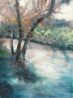 L'artiste de cette œuvre est Ann Blockley. La technique utilisée est l'aquarelle. L'œuvre est une peinture d'un arbre et d'un petit lac, on peut voir le reflet de l'arbre sur le lac. Les couleurs sont brun, vert, bleu pâle, orange. Je ressens en regardant cette œuvre la calme puisque c'est un lac et je trouve que c'est paisible comme peinture. J'aime cette œuvre parce que quand on regarde cette œuvre on peu déjà entre en paix avec nous mêmes puisque c'est calme et j'aime les couleurs.