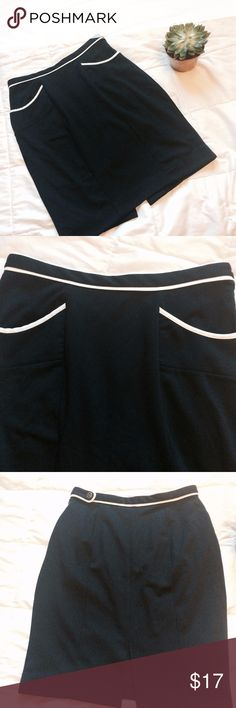 BANANA REPUBLIC Nautical Navy Blue Pencil Skirt This Banana Republic Skirt is Nautical inspired with Navy Blue with White piping details.  Only worn once and in perfect condition! Banana Republic Skirts Pencil