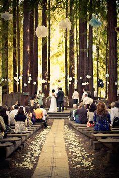 Forest wedding with Paper Lanterns Rustic Wedding Decor - Weddbook Wedding Wishes, Wedding Bells, Wedding Events, Wedding Ceremony, Outdoor Ceremony, Wedding Altars, Backdrop Wedding, Ceremony Backdrop, Outdoor Seating