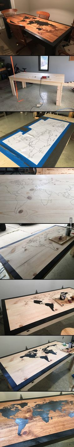 guy got bored and decided to built a World Map dining room table. This guy got bored and decided to built a World Map dining room table.This guy got bored and decided to built a World Map dining room table. Furniture Projects, Home Projects, Diy Furniture, Woodworking Plans, Woodworking Projects, Woodworking Shop, Woodworking Skills, Wood Interiors, Dining Room Table
