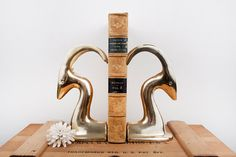 Vintage brass art deco large gazelle antelope bookends