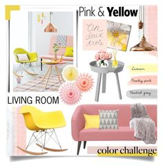 """PINK&YELLOW: Color Challenge!"" by myfashionmadness ❤ liked on Polyvore featuring interior, interiors, interior design, hogar, home decor, interior decorating, Monday, CB2, Pillow Decor y Original BTC"