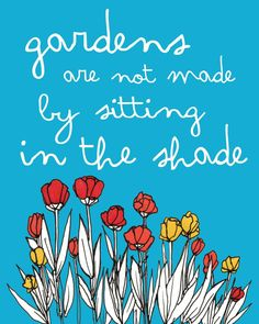 gardens are not made by sitting in the shade