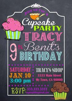 Cupcake Birthday Invitation Birthday Chef Chalkboard Invitation by M2MPartyDesigns