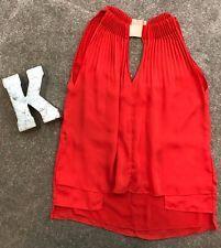 Diane Von Furstenberg Isaye Red Drape Pleated Sleeveless Top Silk Sz 0  #14
