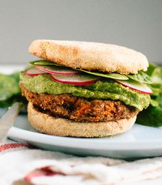 Lentil-Chickpea Veggie Burgers with Avocado Green Harissa Recipe - RecipeChart.com