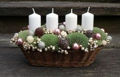soy and beeswax candles Christmas Advent Wreath, Handmade Christmas Decorations, Christmas Flowers, Christmas Candles, Christmas Balls, Xmas Decorations, White Christmas, Christmas Holidays, Christmas Crafts