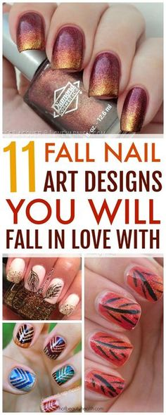 Here's a curated list of 11 fall nail art design tutorials with the hottest nail color shades for fall! They're easy to recreate and super fun to do this autumn. Hot Beauty Health blog