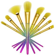 DE'LANCI 8Pcs Colorful Makeup Brushes kit Make Up Foundation Eyebrow Eyeliner Blush Cosmetic Concealer Brushes Professional Cosmetic Brush Set Make Up Brush Kit with Leather Travel Pouch >>> Continue to the product at the image link. (This is an affiliate link) #BrushSets