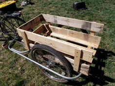 bike trailer wood pallet... orrr a hog trailor instead of dragging them out!