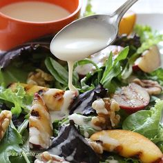 How beautiful is this! Grilled Stone Fruit Salad with Honey Goat Cheese Dressing | via @skinnytaste